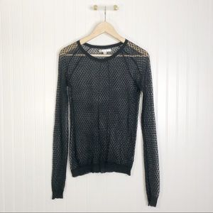 CAbi small black lace sheer knit long sleeve